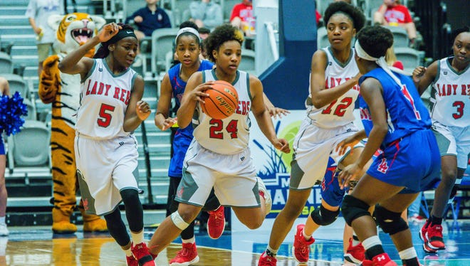 North Caddo's Destiny Rice drives to the bucket against Lake Arthur in the LHSAA Class 2A state championship game.