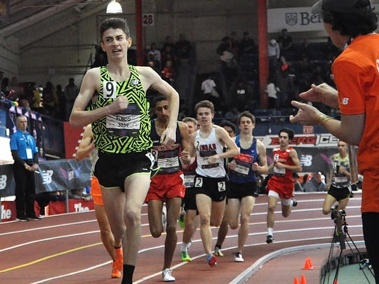 Somers' Greg Fusco leads his heat of the boys championship mile at Nationals. He ran a personal-best time. Photo from March 10, 2018.
