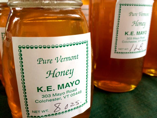 Honey for sale at the Colchester Farmers Market.