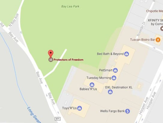 "The location of the ""Protectors of Freedom"" memorial"