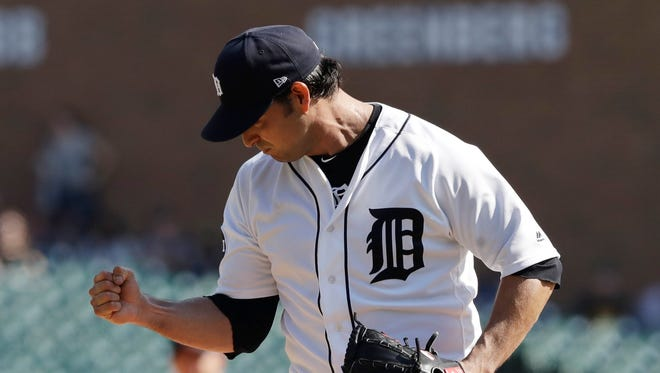 Tigers starting pitcher Anibal Sanchez pumps his fist after striking out Athletics' Matt Chapman in the sixth inning Wednesday, Sept. 20, 2017 in Detroit.