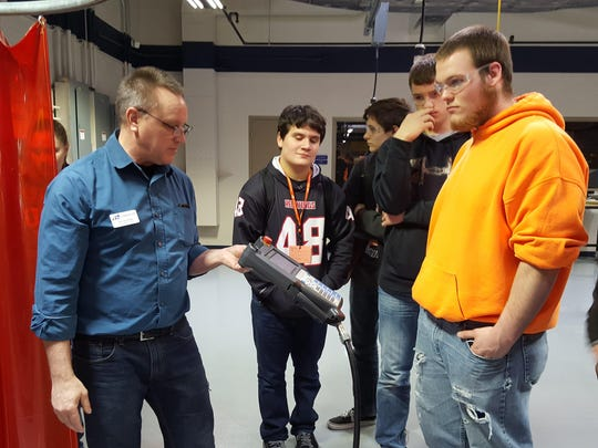 Fifteen local schools attended the Sheboygan County Chamber's annual Career Connections held at Lakeshore Technical College earlier this month. Here, LTC's Jim Gruenke demonstrates programming robotics.