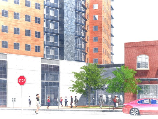 A ground view rendering of the proposed mixed-use development