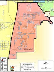 This map highlights the constituency in district six. According to the City Charter, the appointed commissioner must have resided in this area for a period not less than 90 days prior to filing.