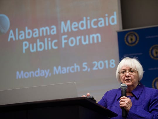 Carol Gundlack speaks during the Alabama Medicaid Public