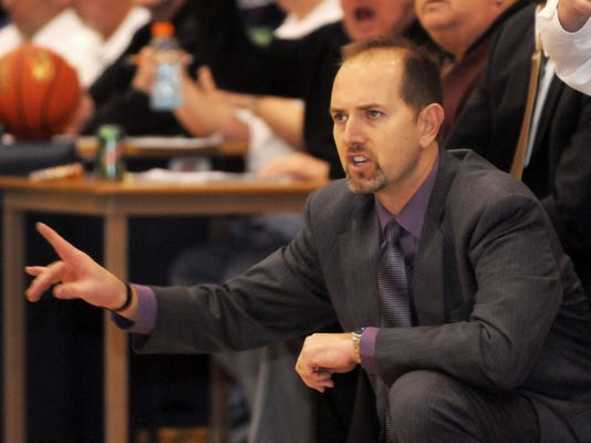 Chambersburg coach Shawn Shreffler coaches the CASHS boys basketball team on Friday, February 17, 2012.