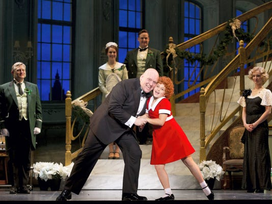 "Gilgamesh Taggett as Oliver Warbucks and Issie Swickle as Annie in ""I Don't Need Anything But You"""