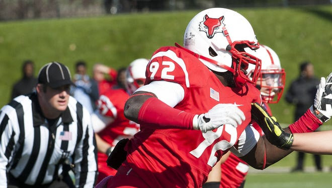 Terrence Fede, who was drafted by the Miami Dolphins on Saturday, is shown competing for Marist College in a game this season.