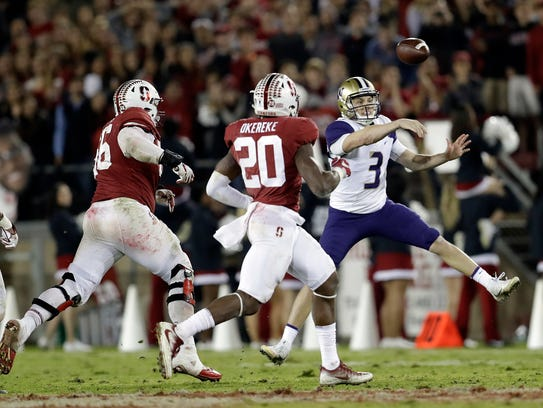 Washington quarterback Jake Browning has thrown for just 2,097 yards and 16 touchdowns this year, far down from his 2016 totals of 3,480 yards and 43 touchdowns.