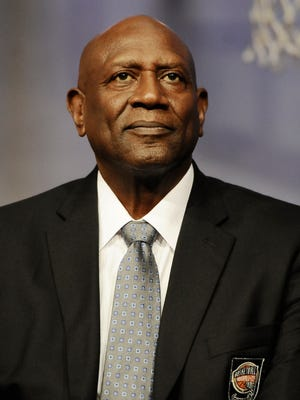 Spencer Haywood of the 2015 class of inductee into the Basketball Hall of Fame during a news conference at the Naismith Memorial Basketball Hall of Fame, Thursday, Sept. 10, 2015, in Springfield, Mass.