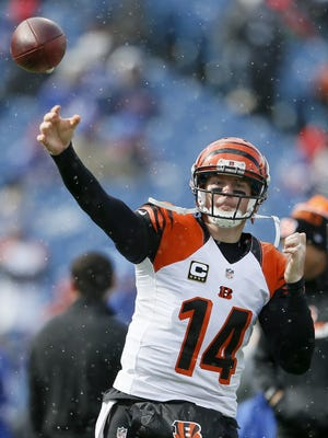 Bengals quarterback Andy Dalton throws a pass during warm ups.