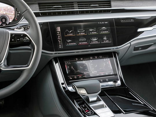 The center console of the 2019 Audi A8