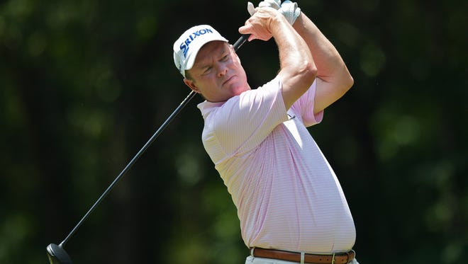 Joe Durant plays a shot during a 2018 Champions Tour event in Birmingham, Alabama. Durant will be featured in the Greater Pensacola Junior Golf Association 30th anniversary ceremony on Saturday.