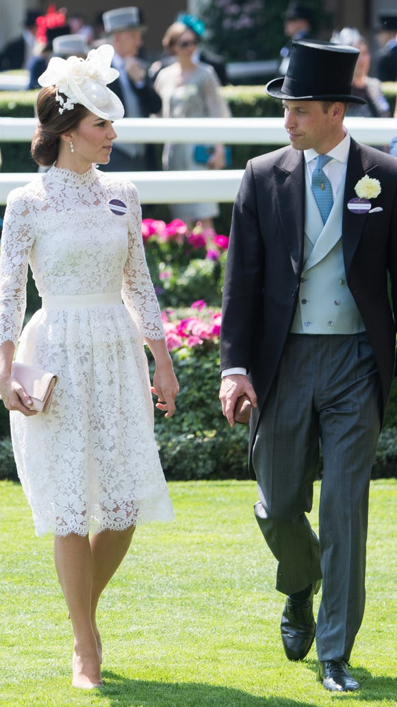 e621bf2bdae Duchess Kate wows in white lace — and a name tag — at Royal Ascot