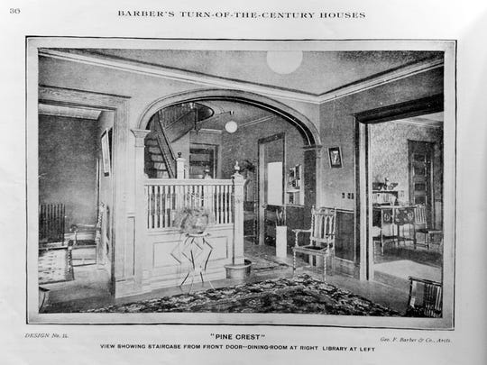 """The original staircase and foyer with dining room to the right and library to the left. From the book, """"Barber's Turn-of-the Century Houses: Elevations and Floor Plans by George F. Barber. Originally published in 1901 and reprinted by Dover Books."""