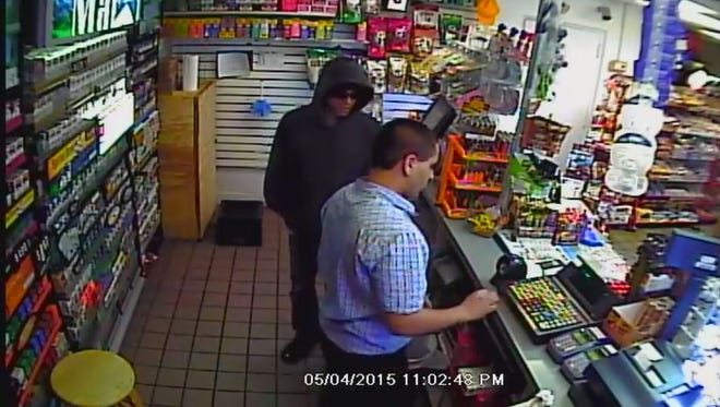 Richmond Police Department is looking for this suspect in the robbery of a Clark gas station. Call (765) 983-7247 with any information.