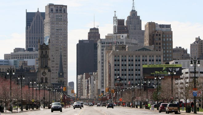 Looking south on Woodward Avenue to downtown Detroit.