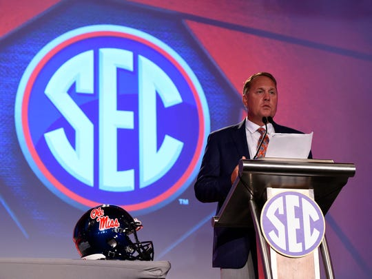 Ole Miss Rebels head coach Hugh Freeze speaks to media during SEC Media Days at the Hyatt Regency Birmingham-The Winfrey Hotel. Mandatory Credit: Adam Hagy-USA TODAY Sports