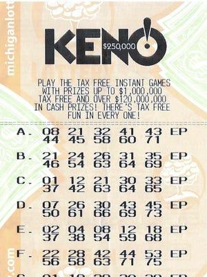 A Kalamazoo man's winning Keno lottery ticket.
