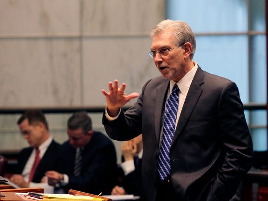 Dean I. Schneider, attorney of Gary Lunsford, speaks during the case of New Jersey vs. Gary Lunsford, in which the state Attorney General's Office is asking the High Court to overturn its own 1982 ruling and allow police to get someone's cell phone records without a warrant, in the chamber of the Supreme Court at the Richard J. Hughes Justice Complex in Trenton, NJ Monday, February 29, 2016.