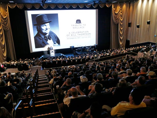 Friend Andy Masich speaks during a celebration for Bill Thompson Monday, Aug. 11, 2014 at the Cine Capri theater in the Harkins Theater at Tempe Marketplace in Tempe, Ariz.