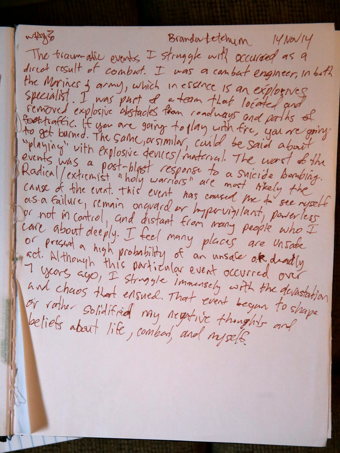 A portion of Sgt. Brandon Ketchum''s journal.