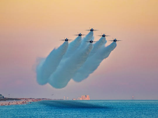 The Blue Angels fly over Pensacola Beach
