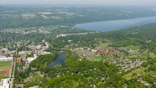 Looking northwest, over Beebe Lake at Cornell University, to Cayuga Lake, top right, in May 2014.