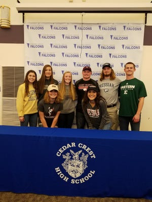 A total of 8 Cedar Crest student-athletes participated in a National Signing Day ceremony at the school on Thursday. Announcing their college choices were, front row, from left, (front, left-right) Michaela Krause (Field Hockey, Bloomsburg University) and Tasia Rutter (Field Hockey, East Stroudsburg University). Back row, Alicia Blizzard (Women's Soccer, Lycoming College), Grace Miller (Women's Volleyball University of Pittsburgh-Johnstown), Casey Shillabeer, (Women's Soccer, University of Pittsburgh-Greensburg), Nate Trovinger (Baseball, Lock Haven University), Frank Honey (Men's Lacrosse, Messiah College), and Chad Ryland (Football, Eastern Michigan University).