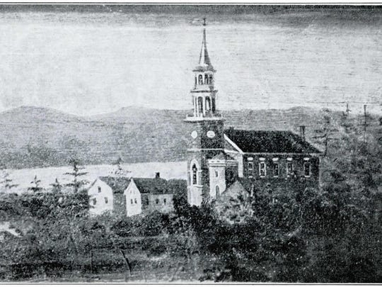 Crayon drawing depicting the church as it appeared in the 1835. The whereabouts of the original drawing is unknown. If anyone has a clue, please contact the First Unitarian Universalist Society. Artist unknown.