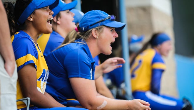 The Rambelles cheer on their teammates against Texas A&M-Commerce during the Division II South Central Super Regional Friday, May 18, 2018, at Mayer Field.