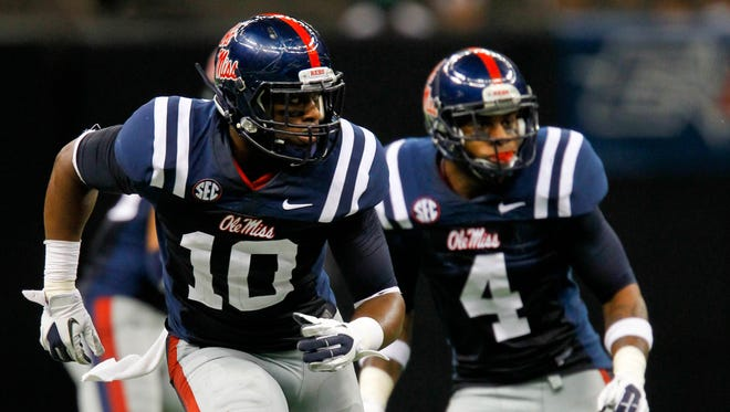 Ole Miss linebackers C.J. Johnson (10) and Denzel Nkemdiche (4) were limited by injuries this season.