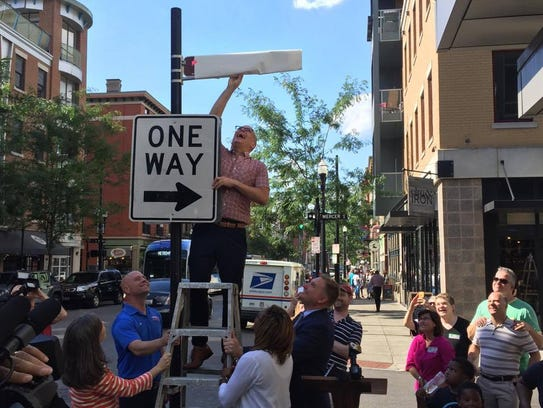 A sign unveiling Wednesday in Over-the-Rhine honoring
