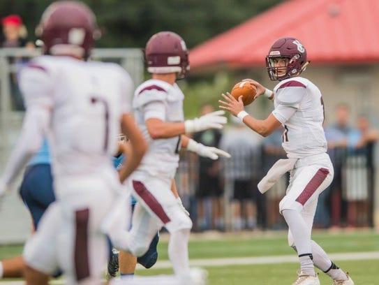 Vermilion Catholic quarterback JT Lege fires a pass