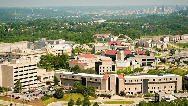 An aerial shot of Northern Kentucky University. Downtown Cincinnati can be seen in the background,