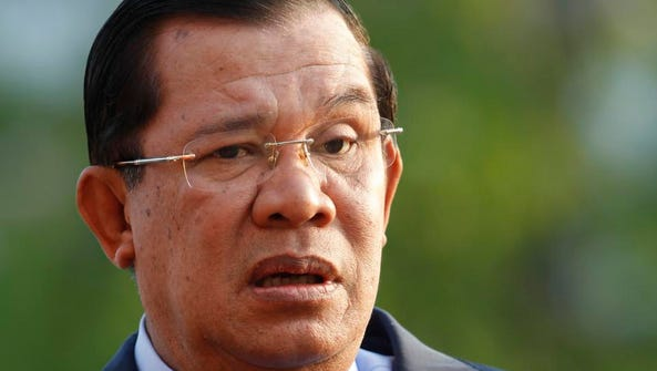 In this Jan. 7, 2015, file photo, Cambodian Prime Minister