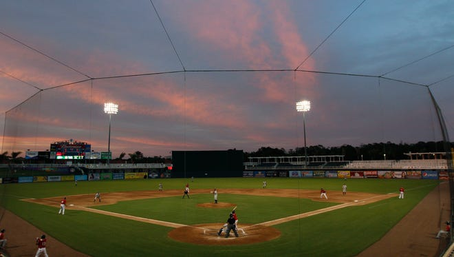 Sunset at the Fort Myers Miracle-Charlotte Stone Crabs game on Thursday, April 30.
