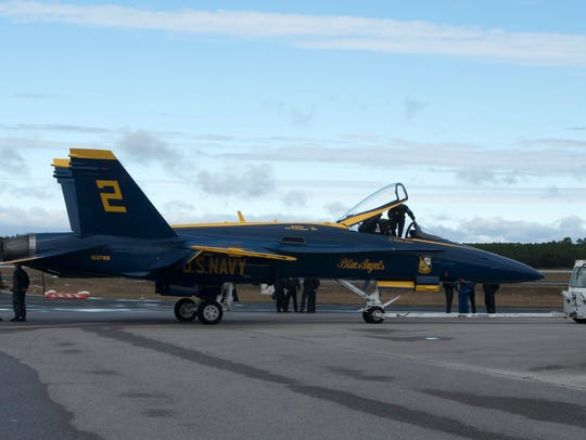 Crews prepare the Blue Angels' jets on Thursday, Nov.