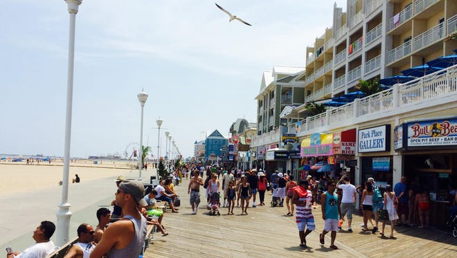 The Boardwalk thinned out some after the July 4 festivities but remained busy Sunday afternoon.