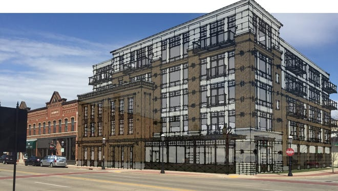 An updated rendering of the five-story mixed-use building at 102 N. Broadway in De Pere. Construction of The 102 on Broadway will begin in July.