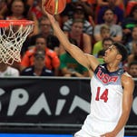 Anthony Davis scores on a layup vs. New Zealand at the Bilbao Exhibition Center in Bilbao, Spain. USA beat New Zealand in the FIBA World Cup tournament Tuesday.
