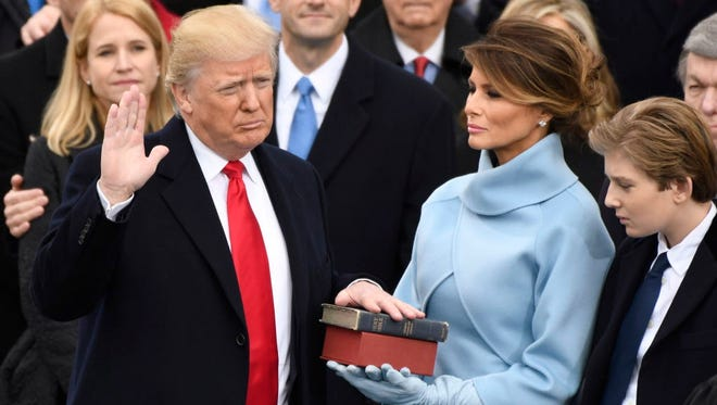 President Trump takes the oath of office on Jan. 20, 2017.
