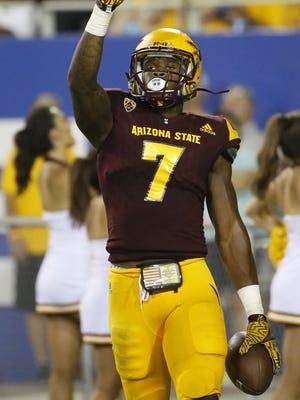 Arizona State University running back Kalen Ballage celebrates a touchdown during a football game against Northern Arizona University at Sun Devil Stadium in Tempe on September 3, 2016.
