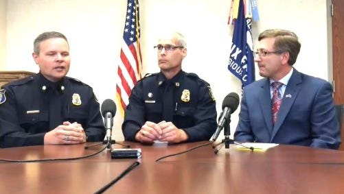 Future Police Chief Matt Burns (left) and Mayor Mike Huether (right) praised Capt. Galen Smidt during the announcement Thursday that Smidt will be the next assistant police chief.