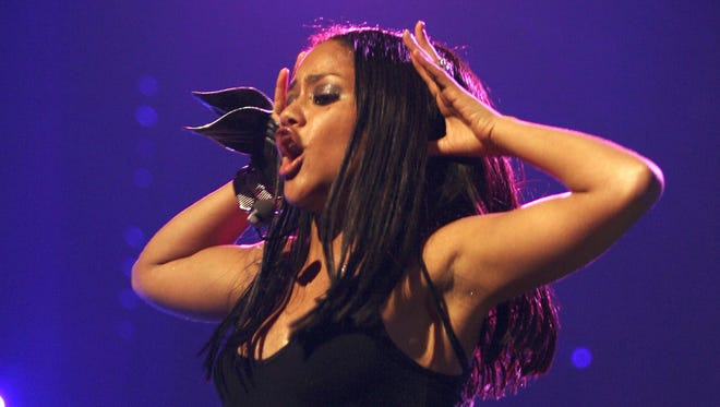 Dominican singer Kat DeLuna performs on the stage at the tenth edition of the Win For Life TMF Awards in Antwerp on October 11, 2008.