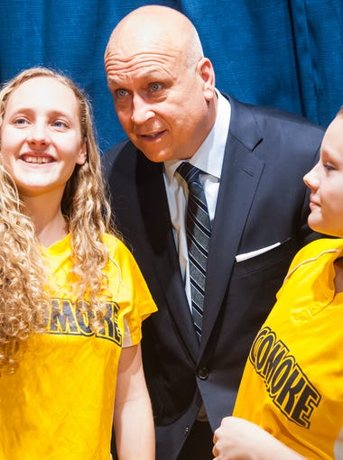 Major League Hall of Famer and former lifetime Baltimore Oriole Cal Ripken Jr. takes a selfie with members of the Pocomoke High softball team on Wednesday afternoon at Pocomoke High School as part of the #WeWantCal campaign.
