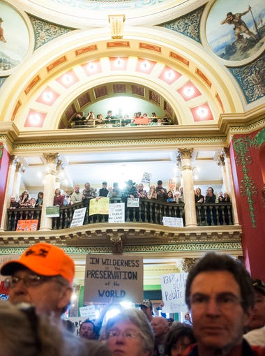 Approximatley 1,000 people attended the Public Lands rally opposing the transfer of public lands into state hands in Helena's Capitol Building Monday.