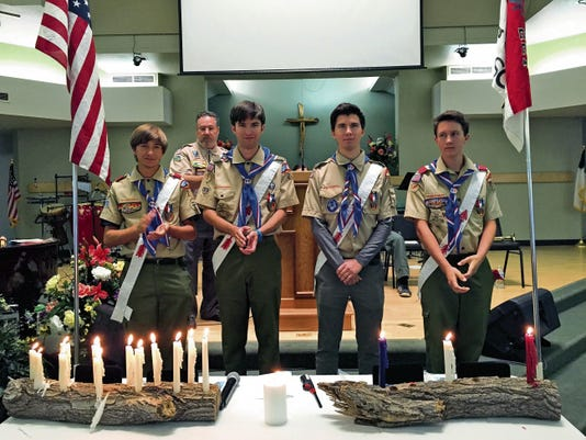 The Miller triplets and their younger brother became Eagle Scouts on Saturday at Coronado Baptist Church in West El Paso. Pictured, from left, are Christian Miller, Colton Miller, Clayton Miller and Addison Miller.