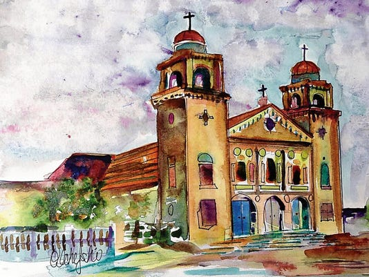 This watercolor of St. Ignatius Catholic Church is Pat Olchefski-Winston's 75th painting of an El Paso landmark.