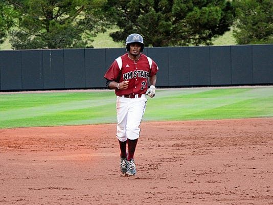 (Gina Palombit/New Mexico State athletics)   New Mexico State senior centerfielder Quinnton Mack has been one of the top players for the Aggies this season.
